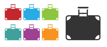Black Suitcase for travel icon isolated on white background. Traveling baggage sign. Travel luggage icon. Set icons colorful. Vector