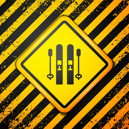 Black Ski and sticks icon isolated on yellow background. Extreme sport. Skiing equipment. Winter sports icon. Warning sign. Vector 向量圖像