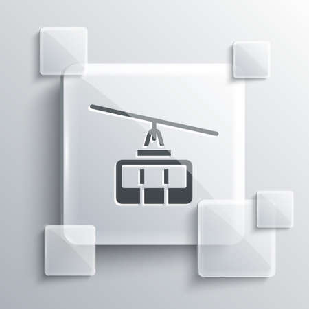 Grey Cable car icon isolated on grey background. Funicular sign. Square glass panels. Vector Ilustração