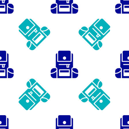 Blue Hiking backpack icon isolated seamless pattern on white background. Camping and mountain exploring backpack. Vector