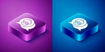 Isometric Grandmother icon isolated on blue and purple background. Square button. Vector