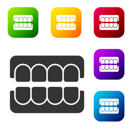Black False jaw icon isolated on white background. Dental jaw or dentures, false teeth with incisors. Set icons in color square buttons. Vector Ilustracja