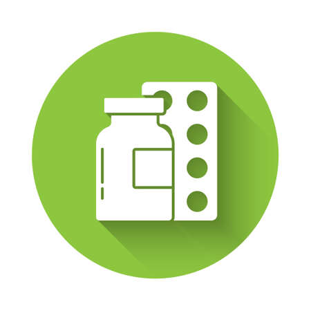 White Pills in blister pack icon isolated with long shadow. Medical drug package for tablet, vitamin, antibiotic, aspirin. Green circle button. Vector