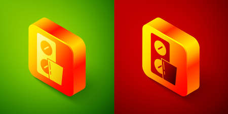 Isometric Pills in blister pack icon isolated on green and red background. Medical drug package for tablet, vitamin, antibiotic, aspirin. Square button. Vector
