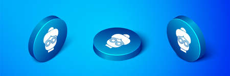 Isometric Grandmother icon isolated on blue background. Blue circle button. Vector