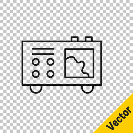 Black line Spectrometer icon isolated on transparent background. Vector