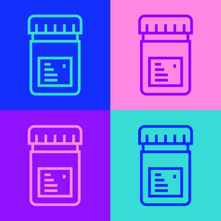 Pop art line Biologically active additives icon isolated on color background. Vector