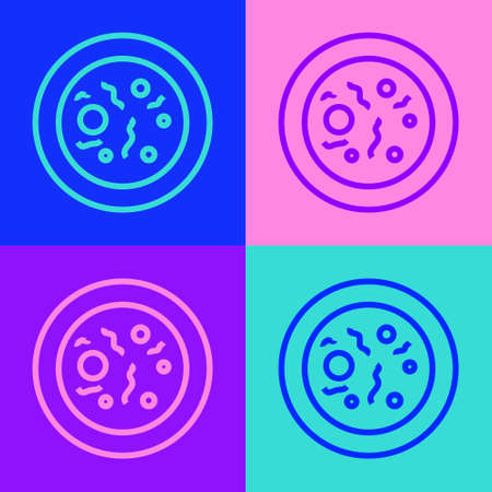 Pop art line Petri dish with bacteria icon isolated on color background. Vector