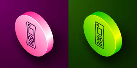 Isometric line Remote control icon isolated on purple and green background. Circle button. Vector 向量圖像