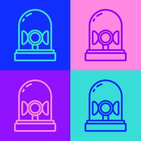 Pop art line Flasher siren icon isolated on color background. Emergency flashing siren. Vector 矢量图像