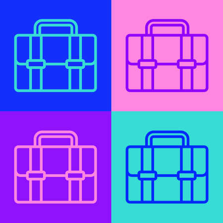 Pop art line Briefcase icon isolated on color background. Business case sign. Business portfolio. Vector 矢量图像
