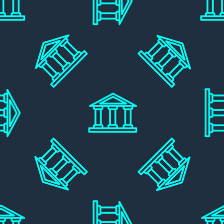 Green line Courthouse building icon isolated seamless pattern on blue background. Building bank or museum. Vector 矢量图像
