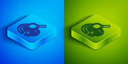 Isometric line Magnifying glass with fingerprint icon isolated on blue and green background. Identification sign. Square button. Vector