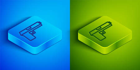 Isometric line Pistol or gun icon isolated on blue and green background. Police or military handgun. Small firearm. Square button. Vector