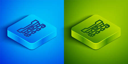 Isometric line Cargo train wagon icon isolated on blue and green background. Freight car. Railroad transportation. Square button. Vector