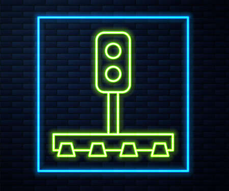 Glowing neon line Train traffic light icon isolated on brick wall background. Traffic lights for the railway to regulate the movement of trains. Vector 矢量图像