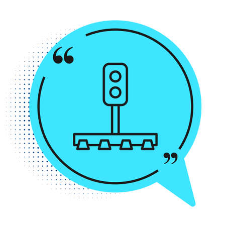Black line Train traffic light icon isolated on white background. Traffic lights for the railway to regulate the movement of trains. Blue speech bubble symbol. Vector