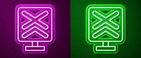 Glowing neon line Railroad crossing icon isolated on purple and green background. Railway sign. Vector