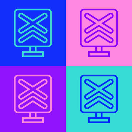 Pop art line Railroad crossing icon isolated on color background. Railway sign. Vector