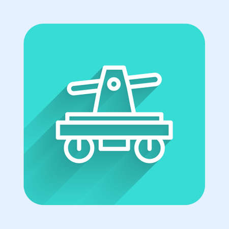 White line Draisine handcar railway bicycle transport icon isolated with long shadow. Green square button. Vector 矢量图像