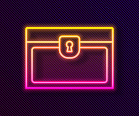 Glowing neon line Antique treasure chest icon isolated on black background. Vintage wooden chest with golden coin. Vector