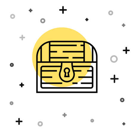 Black line Antique treasure chest icon isolated on white background. Vintage wooden chest with golden coin. Random dynamic shapes. Vector Ilustracja