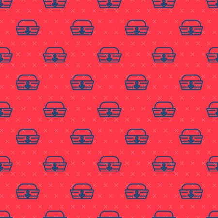 Blue line Sailor hat icon isolated seamless pattern on red background. Vector