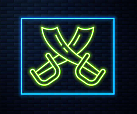 Glowing neon line Crossed pirate swords icon isolated on brick wall background. Sabre sign. Vector