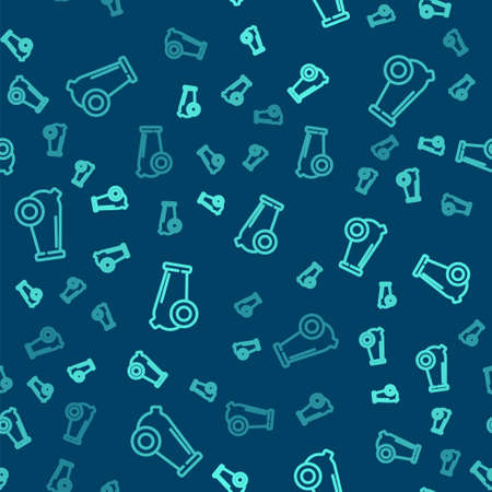 Green line Cannon icon isolated seamless pattern on blue background. Medieval weapons. Vector