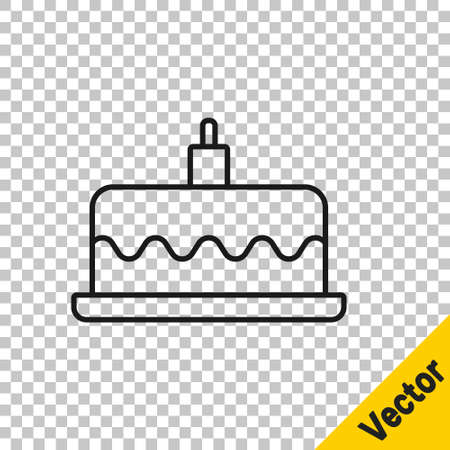 Black line Cake with burning candles icon isolated on transparent background. Happy Birthday. Vector