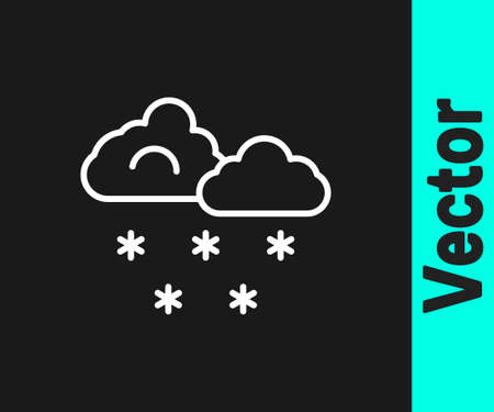 White line Cloud with snow icon isolated on black background. Cloud with snowflakes. Single weather icon. Snowing sign. Vector Ilustracja