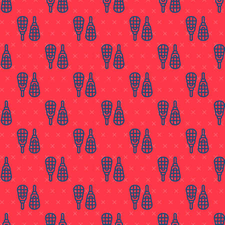 Blue line Snowshoes icon isolated seamless pattern on red background. Winter sports and outdoor activities equipment. Vector