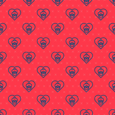 Blue line Grandmother icon isolated seamless pattern on red background. Vector