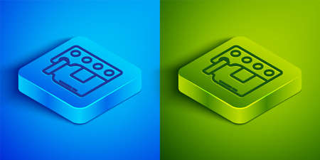 Isometric line Pills in blister pack icon isolated on blue and green background. Medical drug package for tablet, vitamin, antibiotic, aspirin. Square button. Vector