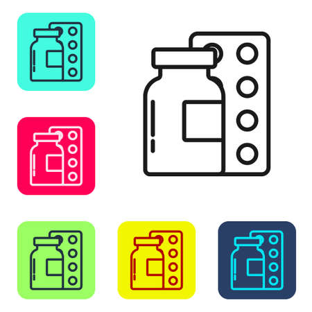 Black line Pills in blister pack icon isolated on white background. Medical drug package for tablet, vitamin, antibiotic, aspirin. Set icons in color square buttons. Vector
