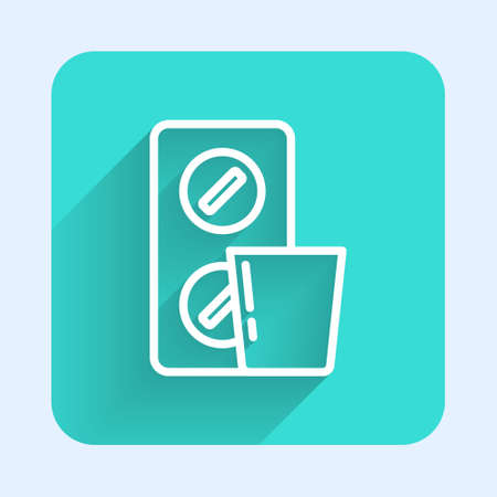 White line Pills in blister pack icon isolated with long shadow. Medical drug package for tablet, vitamin, antibiotic, aspirin. Green square button. Vector 向量圖像