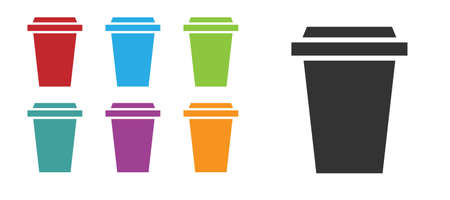 Black Coffee cup to go icon isolated on white background. Set icons colorful. Vector Illustration