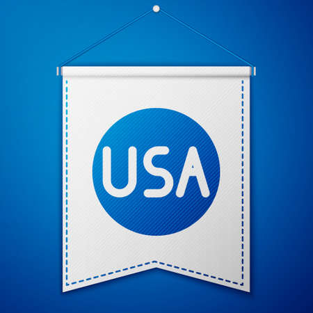 Blue USA label icon isolated on blue background. United States of America. White pennant template. Vector Illustration