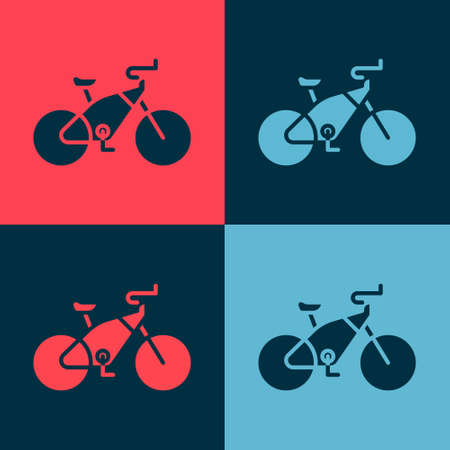 Pop art Bicycle icon isolated on color background. Bike race. Extreme sport. Sport equipment. Vector Illustration