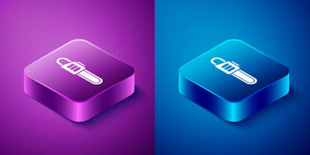Isometric Chainsaw icon isolated on blue and purple background. Square button. Vector Illustration  イラスト・ベクター素材