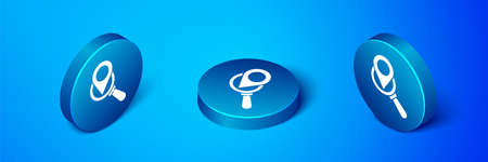 Isometric Search location icon isolated on blue background. Magnifying glass with pointer sign. Blue circle button. Vector Illustration