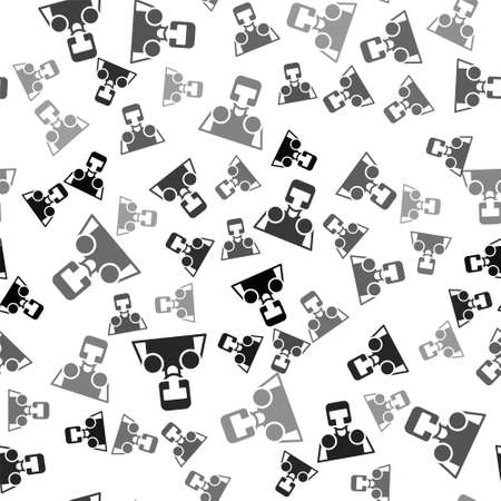 Black Medieval knight icon isolated seamless pattern on white background. Vector