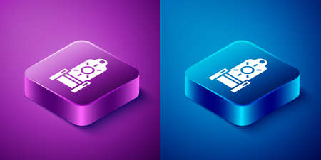 Isometric Medieval throne icon isolated on blue and purple background. Square button. Vector