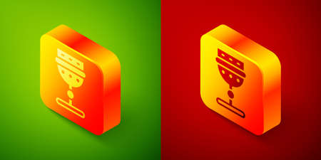 Isometric Medieval goblet icon isolated on green and red background. Square button. Vector