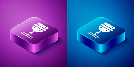 Isometric Medieval goblet icon isolated on blue and purple background. Square button. Vector Ilustrace