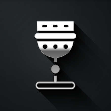 Silver Medieval goblet icon isolated on black background. Long shadow style. Vector Ilustrace