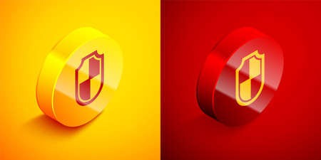 Isometric Shield icon isolated on orange and red background. Guard sign. Security, safety, protection, privacy concept. Circle button. Vector