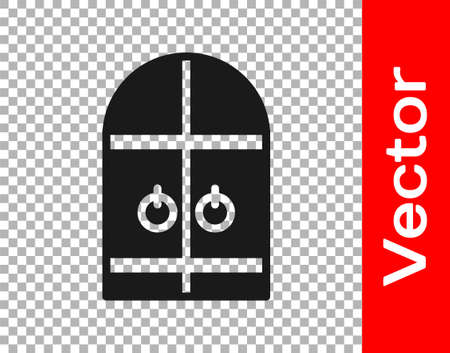 Black Medieval castle gate icon isolated on transparent background. Medieval fortress. Protection from enemies. Vector Ilustrace
