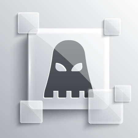 Grey Executioner mask icon isolated on grey background. Hangman, torturer, executor, tormentor, butcher, headsman icon. Square glass panels. Vector