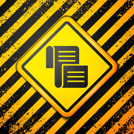 Black Decree, paper, parchment, scroll icon icon isolated on yellow background. Warning sign. Vector